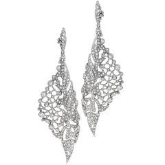 Pave Diamond Leaf Motif Drop Earrings