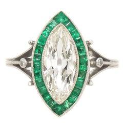 1.75 Carat Old Cut Marquise Diamond Platinum Ring