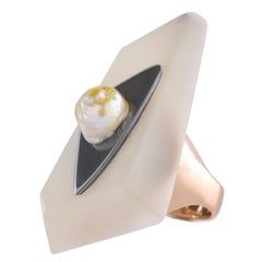 Matar Ring with a Natural Baroque Bahraini Pearl and 14 Karat Gold