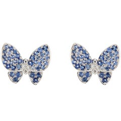 Jona Blue Sapphire White Diamond 18 Karat White Gold Butterfly Stud Earrings