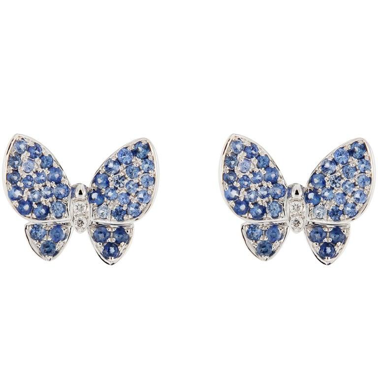 Jona Blue Sapphire White Diamond 18K White Gold Butterfly Stud Earrings