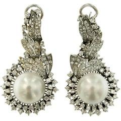 3.50 Carat Diamond Pearl Gold Drop Earrings