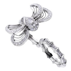 Lalique Libellule Diamond and White Gold Double Finger Ring