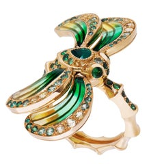 Lalique Libellule Emerald and Yellow Gold Ring