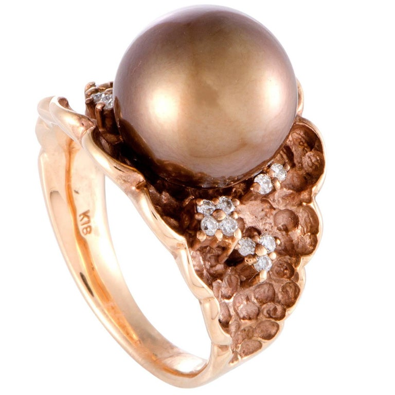 Diamond and Brown Pearl Rose Gold Ring