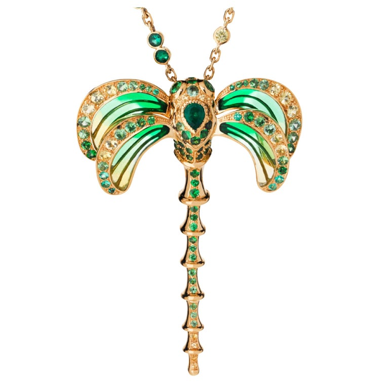 Lalique Libellule Emerald and Yellow Gold Pendant Necklace For Sale