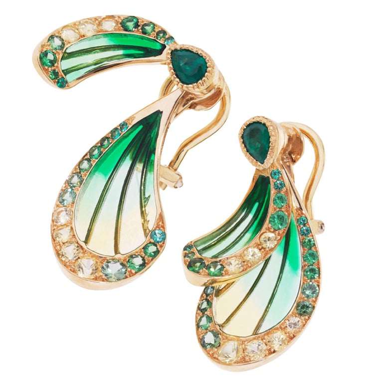 Lalique Libellule Emerald and  Yellow Gold Earrings 1