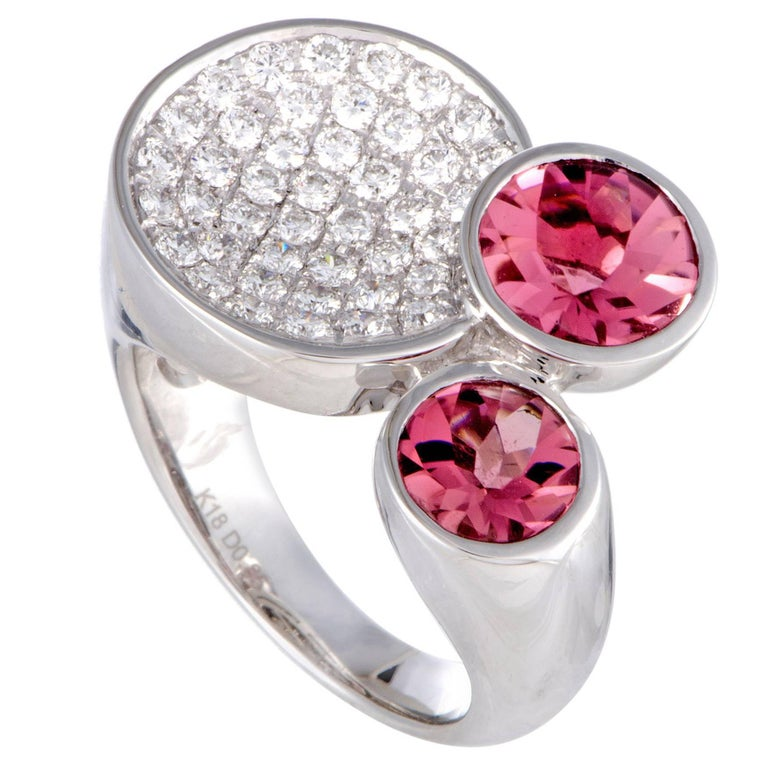Diamond Pave and Pink Tourmaline White Gold Cocktail Ring For Sale