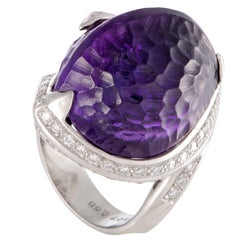Diamond and Amethyst Platinum Cocktail Ring