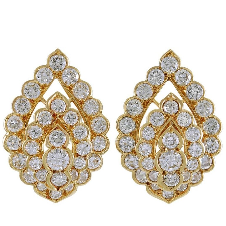 Van Cleef & Arpels Diamond Ear Clips For Sale