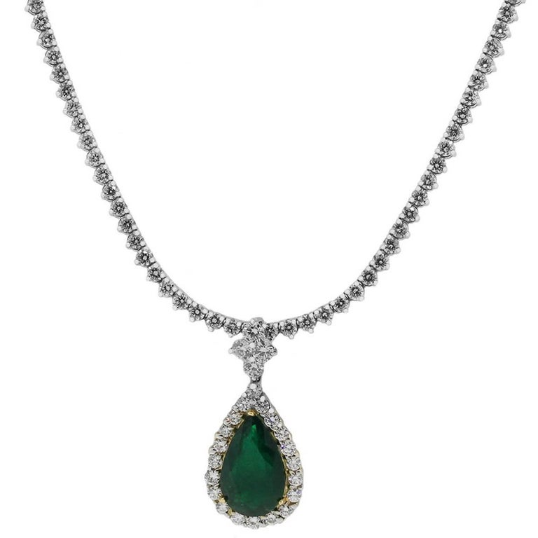 7.44 Carat Pear Shape Emerald and Diamond Tennis Necklace For Sale