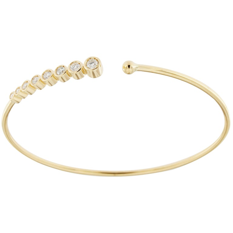 Jona White Diamond 18 Karat Yellow Gold Bangle Bracelet