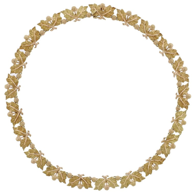 Buccellati Leaf Motif Gold Necklace