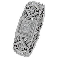 Bulgari Ladies White Gold Pave Set Diamond Quartz Wristwatch