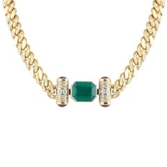 Emerald and Diamond Necklace 9.67 Carat
