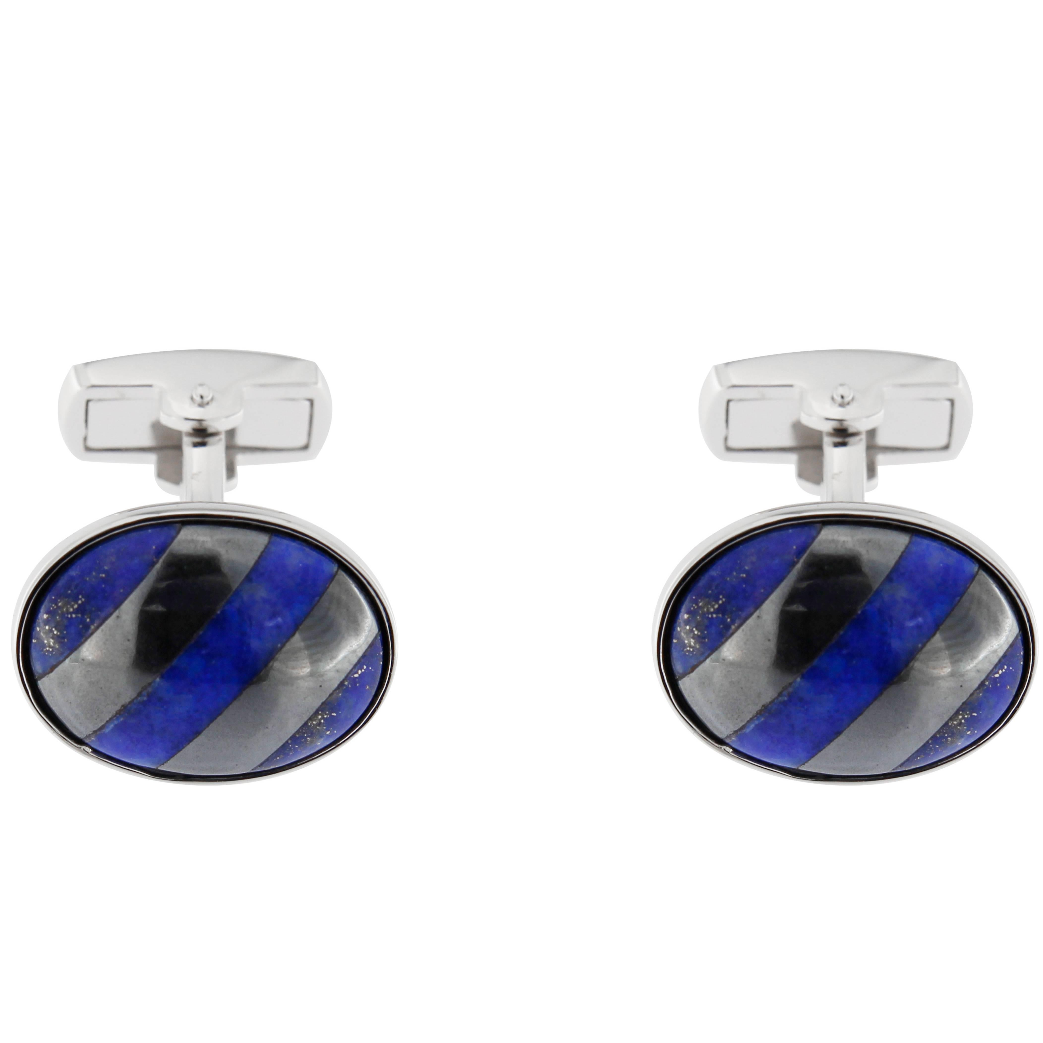 Jona Sterling Silver Hematite and Lapis Lazuli Cufflinks