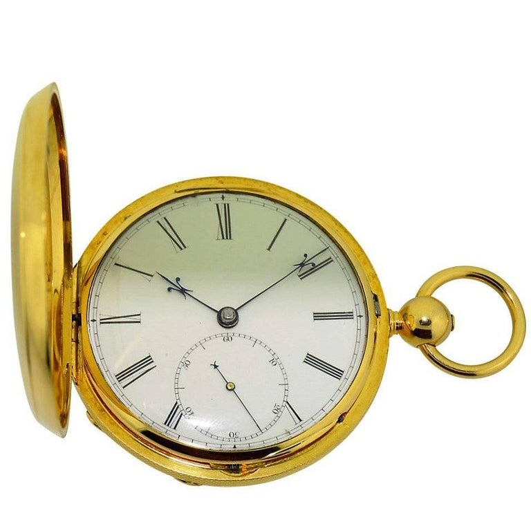 David Taylor Yellow Gold Marked Fusee Pocket Watch, circa 1840s
