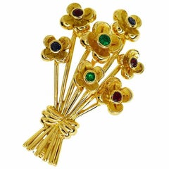 Chaumet Flower Bouque Ruby Emerald Sapphire 18 Karat Gold Brooch