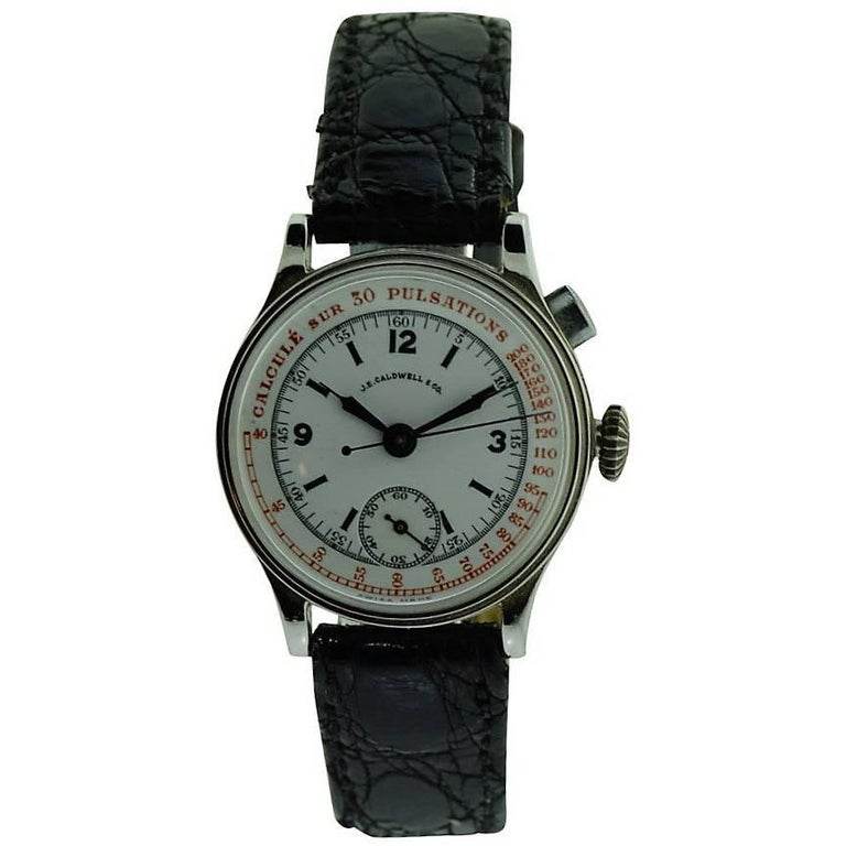 J.E. Caldwell Nickel Finished Doctor's Chronograph Manual Wristwatch For Sale
