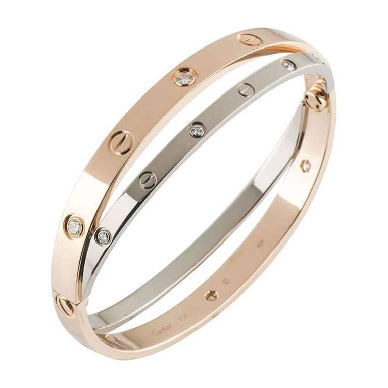 cd44203e48f9c Cartier Rose and White Gold Diamond Love Bracelet
