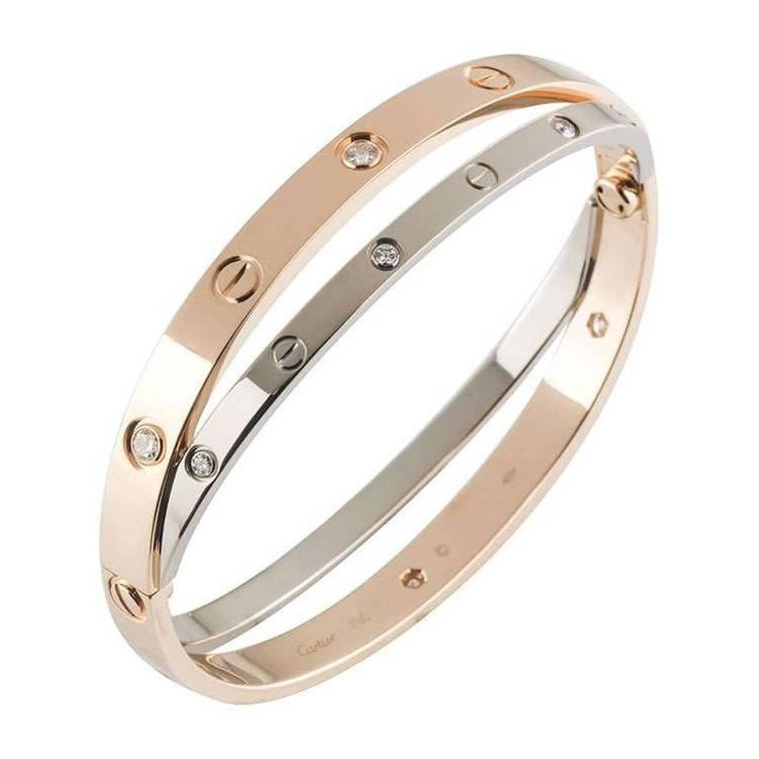 ca5e3a126179ae Cartier Rose and White Gold Diamond Love Bracelet at 1stdibs