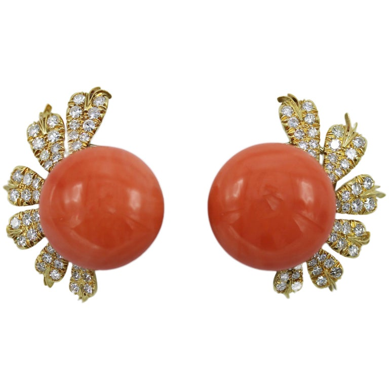 Italian Natural Coral and Diamond Earclips