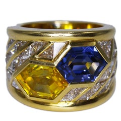 Bucherer Blue and Yellow Sapphire and Diamond Ring