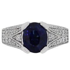 3.89 Carat Blue Sapphire and Diamond Ring