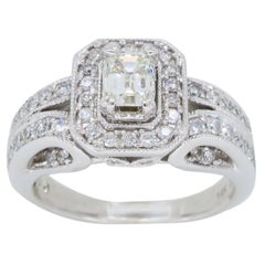 Vintage Style Emerald Cut Diamond Halo Engagement Ring