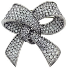 White Gold Platinum Diamond Ladies Ribbon Brooche