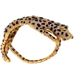 Yellow Gold Diamond Black Enamel Tiger Bracelet