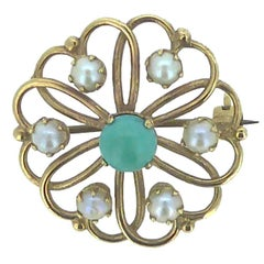 Turquoise and Pearl Brooch, Gold Heart Shaped Surround, Birmingham, 1971