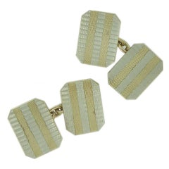 Art Deco Style Cufflinks in Yellow and White Gold, Machine Engraved, circa 1960s