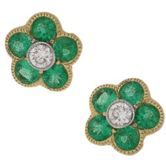 18 Carat Emerald Diamond Floral Stud Earrings
