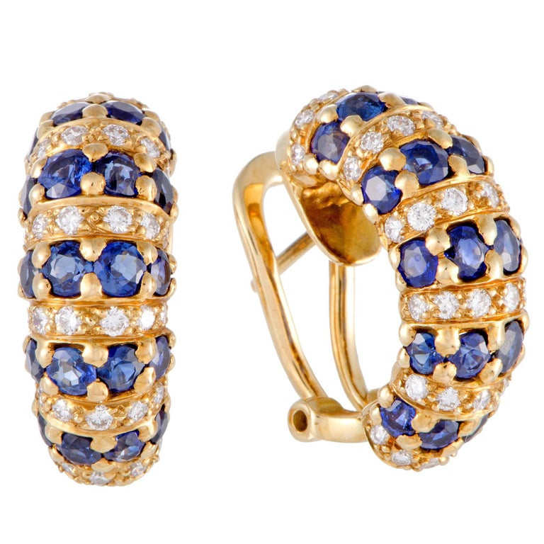 Diamond and Sapphire Yellow Gold Huggie Earrings