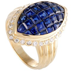 Diamond and Invisible Set Sapphire Yellow Gold Cocktail Ring