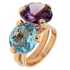 Blue Topaz Amethyst Rose Gold Ring Modern