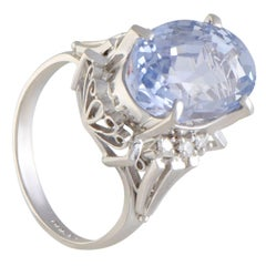 Diamond and Oval Sapphire Platinum Ring