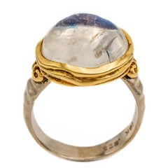 Large Oval Moonstone Ring in 18 Karat Yellow Gold and Sterling Silver