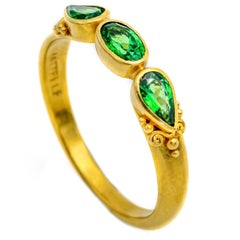 Oval and Pear Tsavorite Green Garnet Ring in 18 Karat Gold with Granulation
