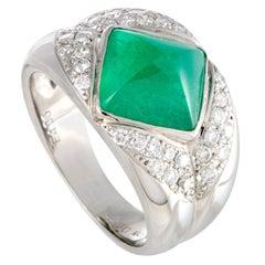 Diamond Pave and Emerald Pyramid Platinum Ring