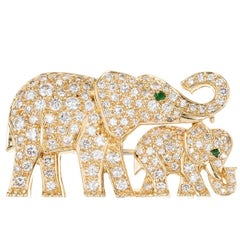 Cartier  Diamond Emerald Gold Elephant Brooch