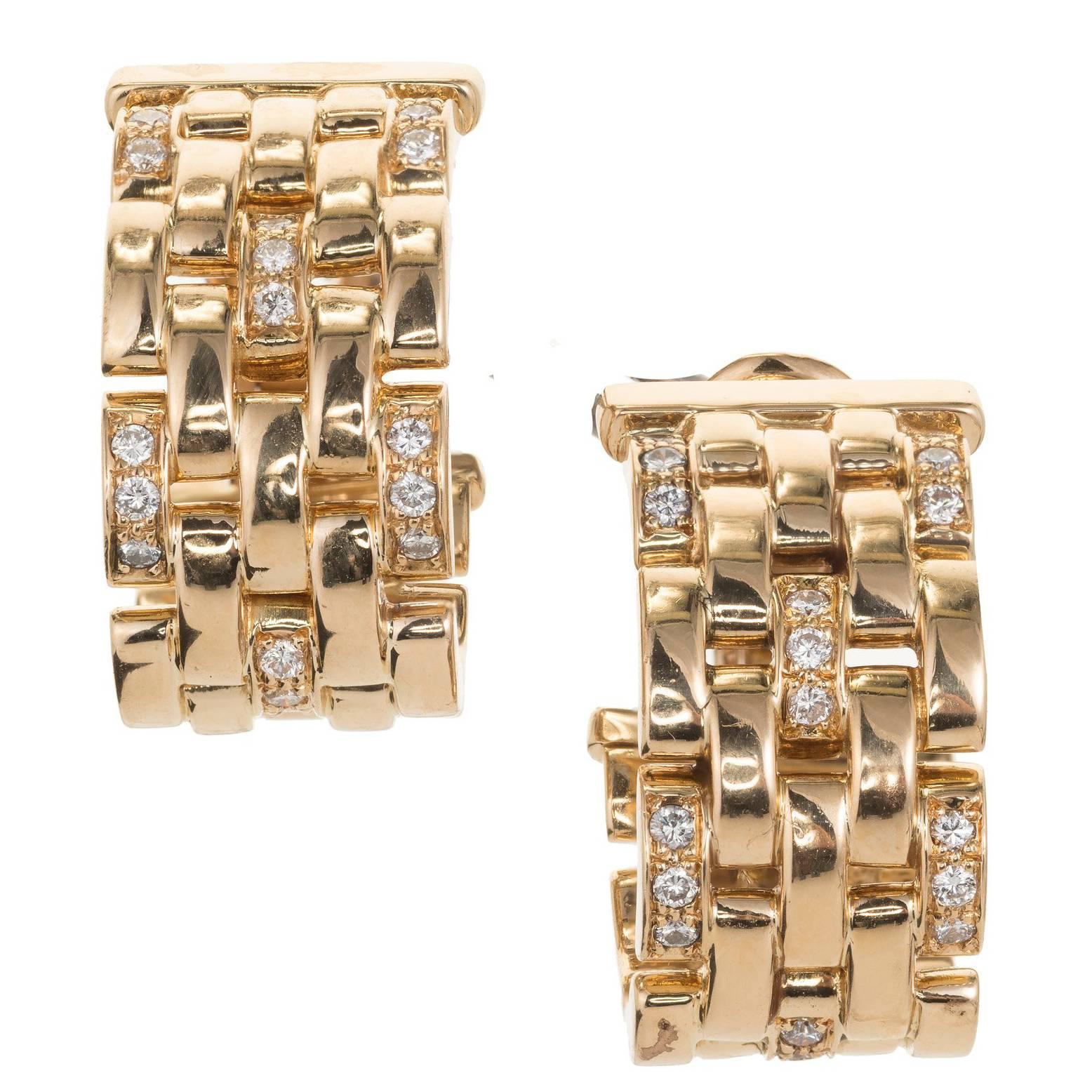 Cartier Maillon Panthere .50 Carat Diamond Five-Row Gold Hoop Earrings