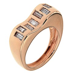 Diamonds 18 Kt Rose Gold Ring Handcrafted in Italy by Botta Gioielli