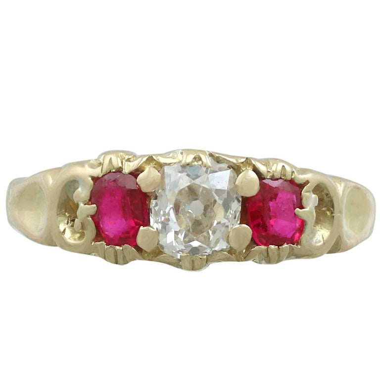 1890s Antique Victorian Diamond and Ruby Yellow Gold Trilogy Ring