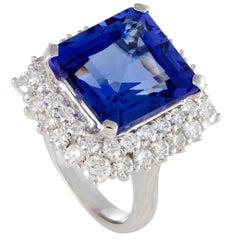 Diamond Pave and Rectangular Tanzanite Platinum Ring