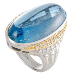 Diamond and Aquamarine Cabochon Platinum and Yellow Gold Ring