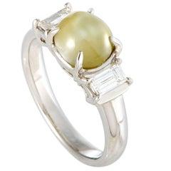 Diamond and Cat's Eye Cabochon Platinum Ring