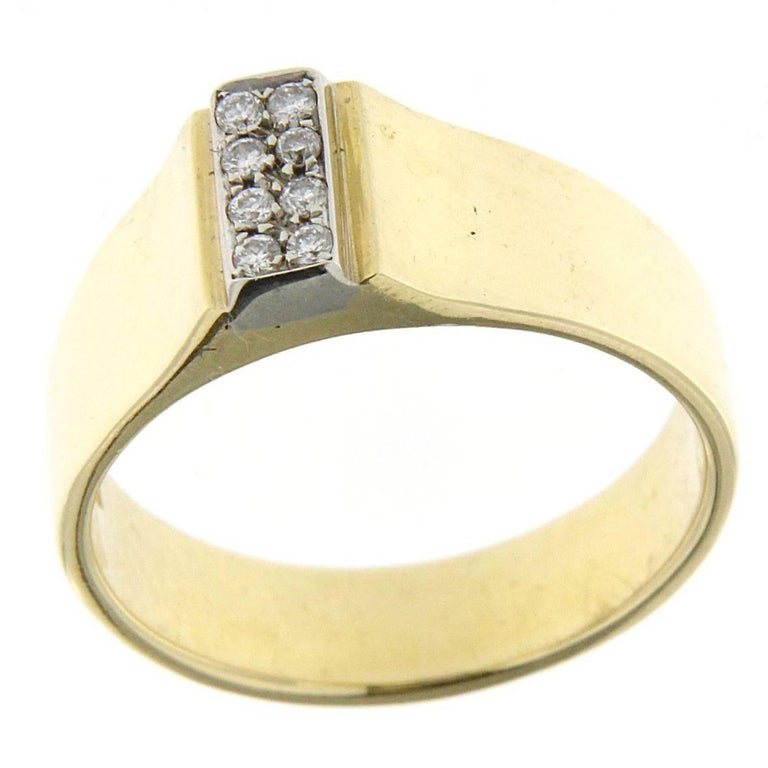 18 karat yellow gold design ring with white diamonds for sale at 1stdibs. Black Bedroom Furniture Sets. Home Design Ideas