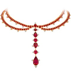 Mozambican Ruby, Rubelite and Diamonds Rose Gold Choker Necklace